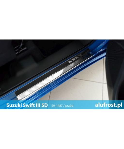 Door sills + carbon foil SUZUKI SWIFT III 5D