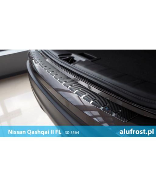 Rear bumper protector + carbon foil NISSAN QASHQAI II FL