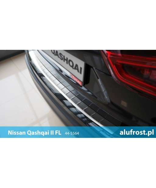 Rear bumper protector (patterned steel) NISSAN QASHQAI II FL