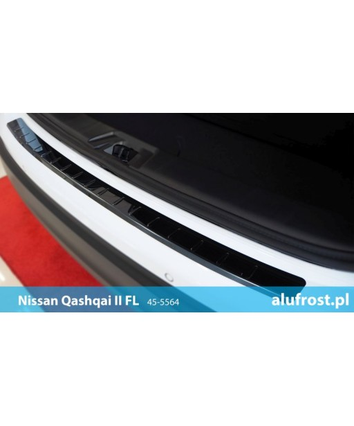 Rear bumper protector (black mirror steel) NISSAN QASHQAI II FL