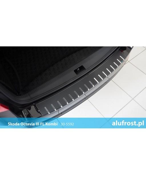 Rear bumper protector + carbon foil SKODA OCTAVIA III FL KOMBI