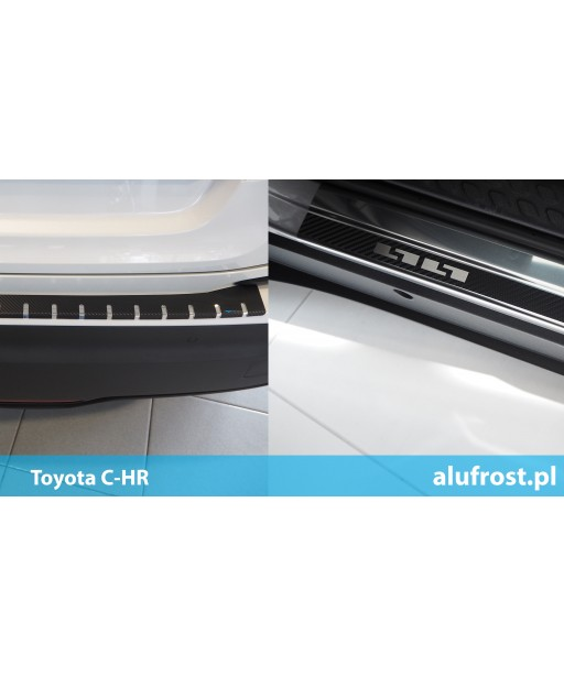SET of door sills and rear bumper protector + carbon foil Toyota C-HR