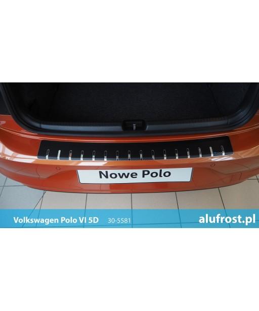 Rear bumper protector + carbon foil VOLKSWAGEN POLO VI 5D